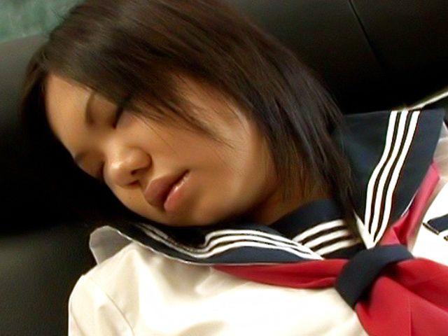 Mischievous Japanese schoolgirl Kokone enjoys anal and pussy rubbing