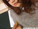 Talented Asian schoolgirl Rio Sakaki rubs her anal and naughty pussy