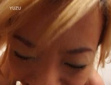 Playful little Asian blonde, Juri Aoki licks ass and gets her pussy nailed