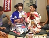 Yuki And Rin Dressed In Kimonos They Enjoy Each Others Pussies