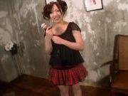 Alluring milf in school uniform enjoys sex toy teasing