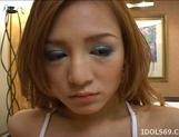 Ai Natsuki Pretty Asian babe Sucks Cock And gets A Facial