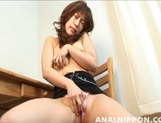 Busty Japanese girl Ann Takamiya masturbates her anal and pussy