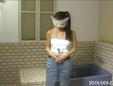 Shiori Asakura pretty Asian teen in mask is getting ready for a shower