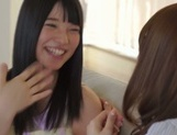 Frisky Asian lesbian gals Yui Hatano, Ai Uehara finger pussies