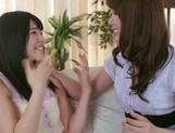 Frisky Asian lesbian gals Yui Hatano, Ai Uehara finger pussies picture 12