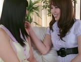Frisky Asian lesbian gals Yui Hatano, Ai Uehara finger pussies picture 13