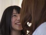 Frisky Asian lesbian gals Yui Hatano, Ai Uehara finger pussies picture 15
