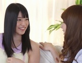 Frisky Asian lesbian gals Yui Hatano, Ai Uehara finger pussies picture 1
