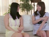 Frisky Asian lesbian gals Yui Hatano, Ai Uehara finger pussies picture 2