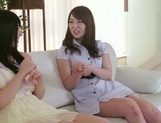 Frisky Asian lesbian gals Yui Hatano, Ai Uehara finger pussies picture 4