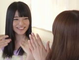 Frisky Asian lesbian gals Yui Hatano, Ai Uehara finger pussies picture 7