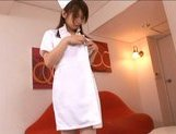 Japanese AV model is a hot nurse in sexy white lingerie picture 9