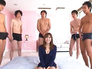 Yuma Asami hot Asian milf in a wild gangbang