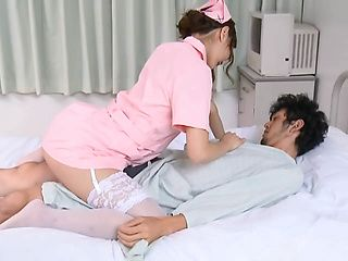 Frisky nurse Nono Mizusawa gets her trimmed pussy drilled