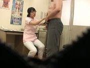 Japanese nurse gets filmed sucking mature cock