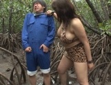 Alluring Japanese mature lady Mizuki Ann sucks cock in a forest