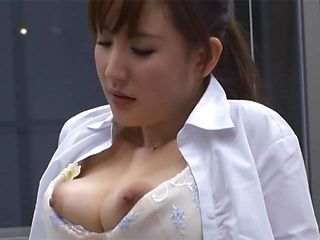 Naughty Asian office lady is caught with her panties down