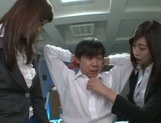 Kinky Asian office ladies tease their horny colleague share hos cock picture 13