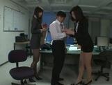 Kinky Asian office ladies tease their horny colleague share hos cock