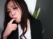Naughty office chick Nozomi Yui deepthroats her colleague swallows jizz