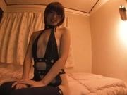 Gorgeous Asian race queen Seira Matsuoka gives a blowjob on pov