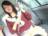 Mikako Abe gets horny while riding in the car picture 13