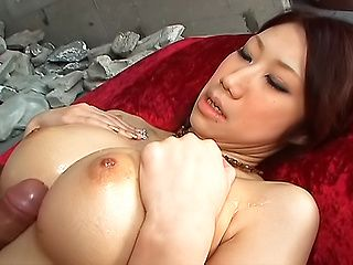 Glorious Asian stunner with enhanced tits Fuuka Takanashi has anal sex