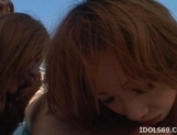 Shiho Kano Asian model and friends enjoy a fucking on the beach picture 13