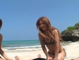 Shiho Kano Asian model and friends enjoy a fucking on the beach picture 1