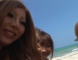 Shiho Kano Asian model and friends enjoy a fucking on the beach picture 4