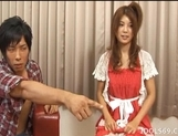 Azumi Harusaki Naughty Asian doll is having fun in a gangbang picture 1