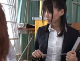 Naughty Japanese teacher Tsukasa Aoi enjoys group sex gets bukkake