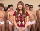 Pretty Asian chick Shiori Kamisaki gets nasty in a group sex action