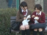 Kinky Japanese lesbian gals seduce a handsome guy for threesome sex