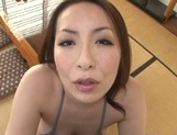 Fantastic Asian mature babe Aoi Aoyama gives a footjob and sucks on pov picture 15