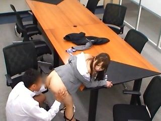 Japanese AV model gets a fuck meeting at the office