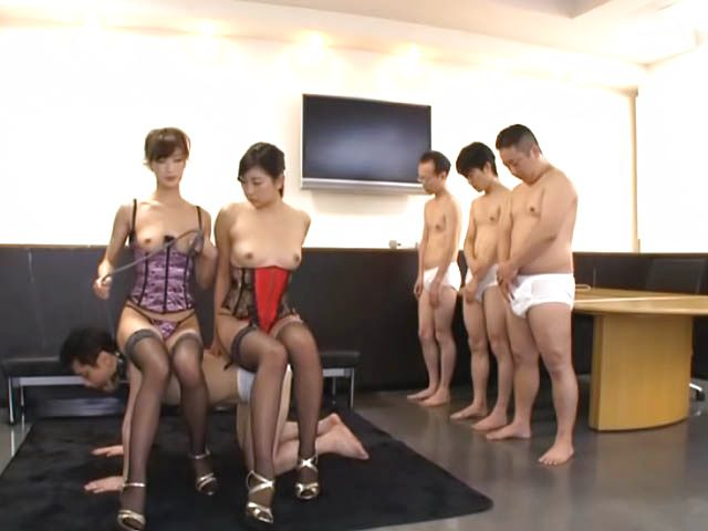 Tall kinky Japanese office girl arrange a mischievous group action