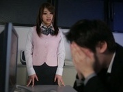 Sweet Japanese sex doll Yui Hasebe spreads thighs waiting for insertion