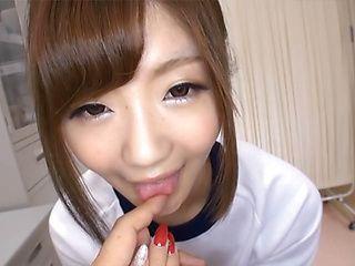 Pretty Asian schoolgirl Maya Kawamura rides impressive rod