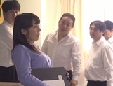 Nasty gang bang with busty teacher Kimika Ichijou picture 1