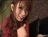 Hikari Hino Lovely Asian model enjoys a dildo before sucking cock