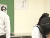 Japanese schoolgirl, Aimi Usui, receives a harsh fuck picture 12