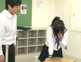Japanese schoolgirl, Aimi Usui, receives a harsh fuck picture 13