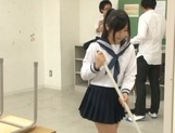 Japanese schoolgirl, Aimi Usui, receives a harsh fuck picture 3