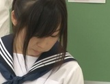 Japanese schoolgirl, Aimi Usui, receives a harsh fuck picture 4