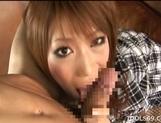 Hikari Hino Asian model enjoys sucking her friend's cock