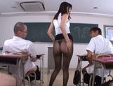 Hot sexy teacher Tsukasa Aoi arranges hardcore action gets bukkake picture 14