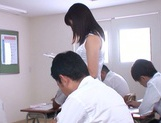 Hot sexy teacher Tsukasa Aoi arranges hardcore action gets bukkake picture 3