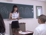 Hot sexy teacher Tsukasa Aoi arranges hardcore action gets bukkake picture 4